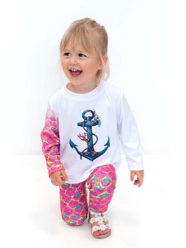 Girls UPF 50+ Sun Protective Tee in Seaside Mermaid Pink