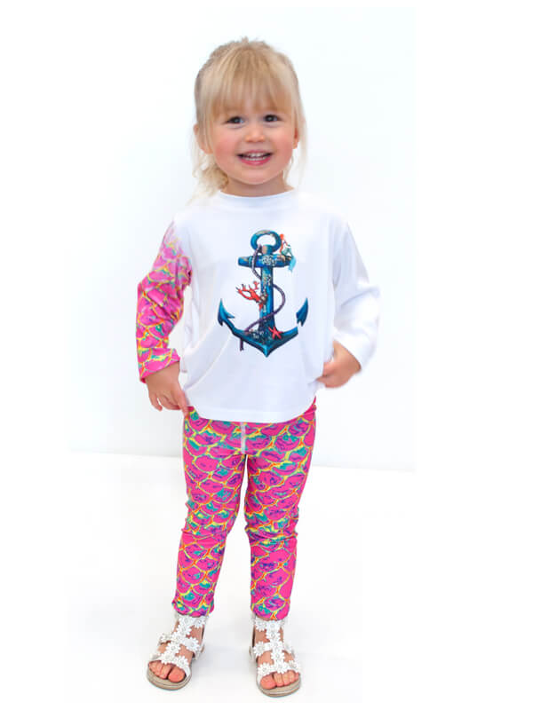 Girls UPF 50+ Legging in Mermaid Pink
