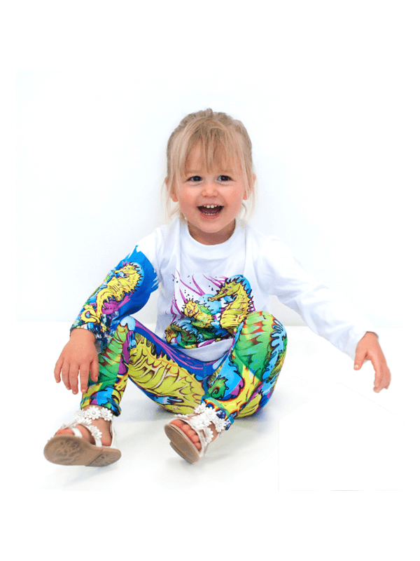 Girls UPF 50+ Legging in Seahorse Bright