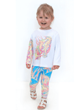 Girls UPF 50+ Sun Protective Tee - Sea Horse Candy