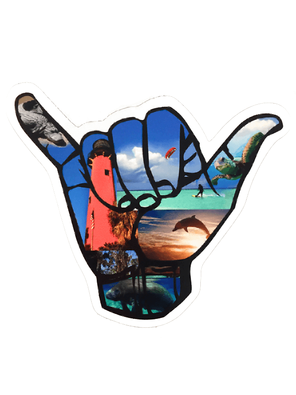 JupLife 561 Shaka Hand Decal 4""