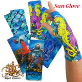 Sun Gloves in Fish Camo Blue