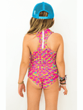 Girls Sport One Piece in Merscale Pink