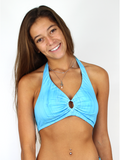 Reversible Triangle Bikini Top in Merscale Equalized / Blue Water