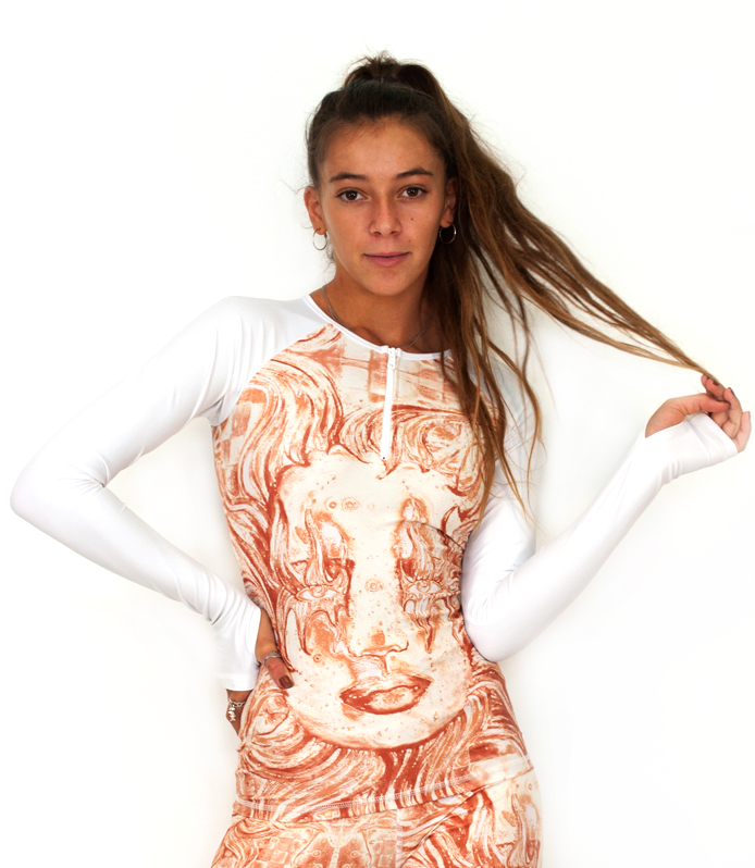 Rash Guard UPF 50+ in Desert Sun with White Sleeves