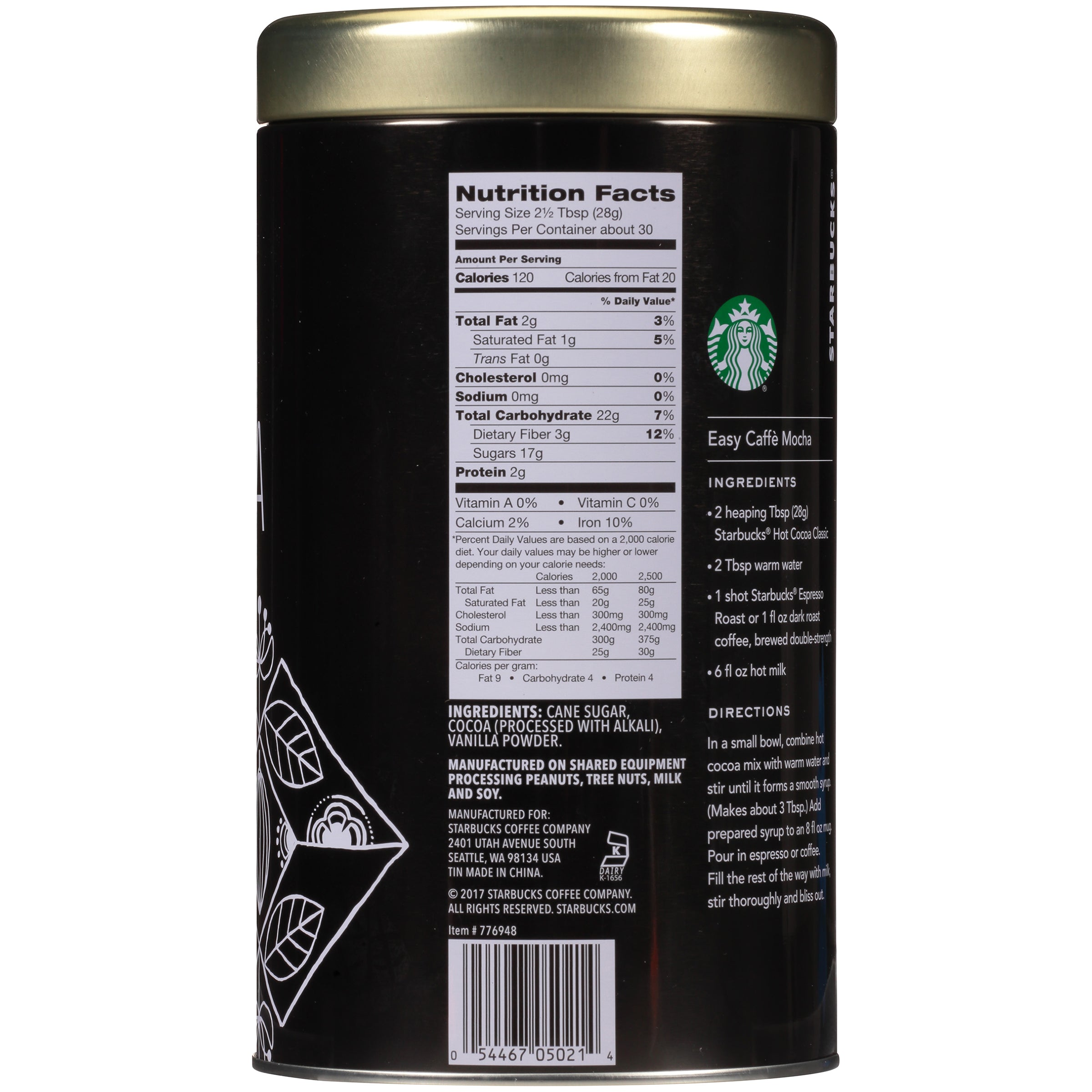 Starbucks Classic Hot Cocoa Mix, 30 Ounce Tin, Pack of 2