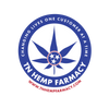 TN Hemp Farmacy's Tennessee themed logo of a tri-star symbol over a hemp leaf with
