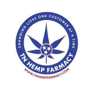 "TN Hemp Farmacy's Tennessee themed logo of a tri-star symbol over a hemp leaf with ""changing lives one customer at a time"" around the edge."