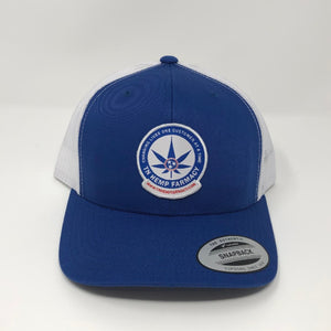 Royal blue trucker style hat with the TN Hemp Farmacy logo on front.