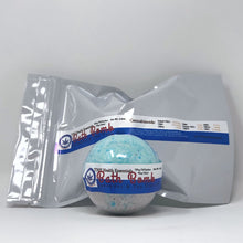 Load image into Gallery viewer, 250 mg full spectrum CBD lavender and tea tree oil bath bomb propped in front of silver foil sealed bag.