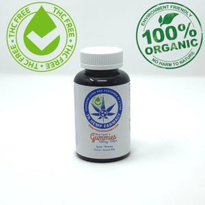 Bottle of 10mg CBD gummies that are THC free and organic.