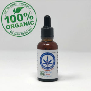 Full spectrum, organic CBD oil in a dropper bottle with the TN Hemp Farmacy logo.