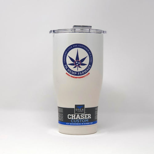 White Orca Chaser stainless steel beverage holder with TN Hemp Farmacy logo front and center.
