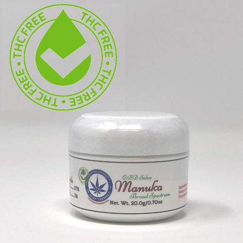 Small white jar of THC free Muscle Ache and Arthritis Manuka Salve containing 500mg CBD along with essential oils.