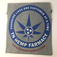 Load image into Gallery viewer, Rear view of men's gray short sleeve shirt with TN Hemp Farmacy logo covering back of shirt.