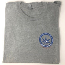 Load image into Gallery viewer, Front view of men's gray short sleeve shirt with TN Hemp Farmacy logo on front left chest.
