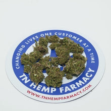 Load image into Gallery viewer, Terpene rich hemp flower buds arranged on top of TN Hemp Farmacy logo. Lab tested and well below 0.3% ∆9-THC.