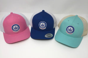 Trio of trucker style hats in pink, royal blue, and aqua with the TN Hemp Farmacy logo on front of each.