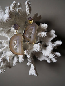 L.N SMOKEY QUARTZ EARRINGS / 12.