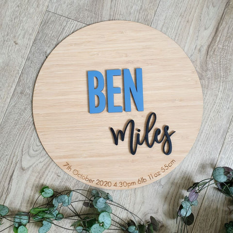 Birth details and name on bamboo circle