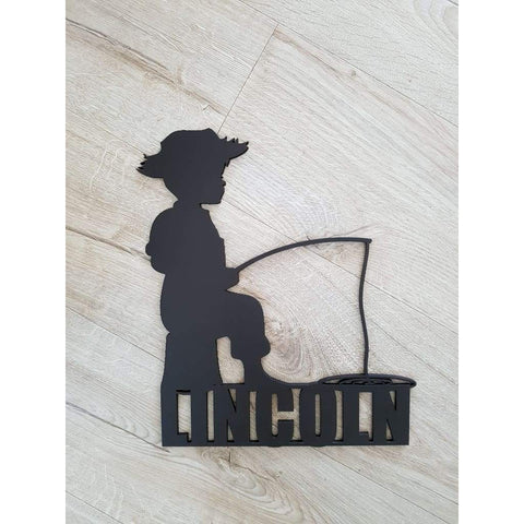 Boy Fishing Name Plaque - Laser Cut Name Plaque
