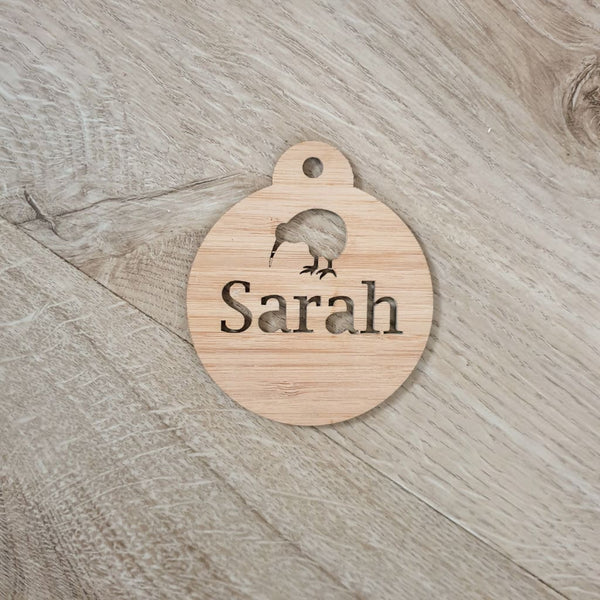 Christmas Baubles Personalised Natural - Kiwi - Christmas Baubles
