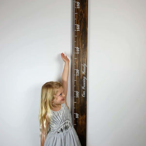 Dark Ebony Stained Pine Wooden Height Chart - Personalised Growth Ruler - Height Chart