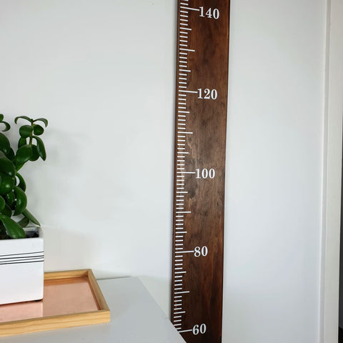 Deep Oak Stained Pine Wooden Height Chart - Personalised Growth Ruler - Height Chart