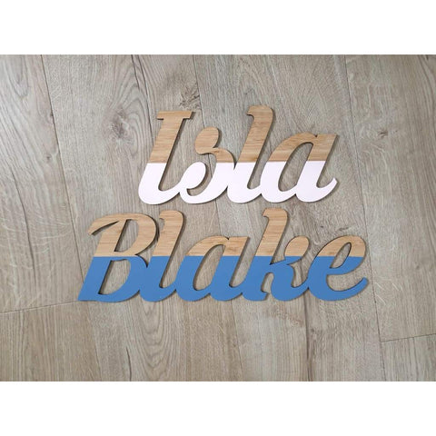Dipped Wooden Name Plaque - Krinkes - Laser Cut Name Plaque