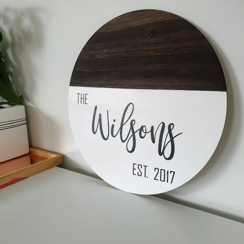 Family Established Name Circle Dipped - 30cm / Deep Oak Stained Birch - General Signs