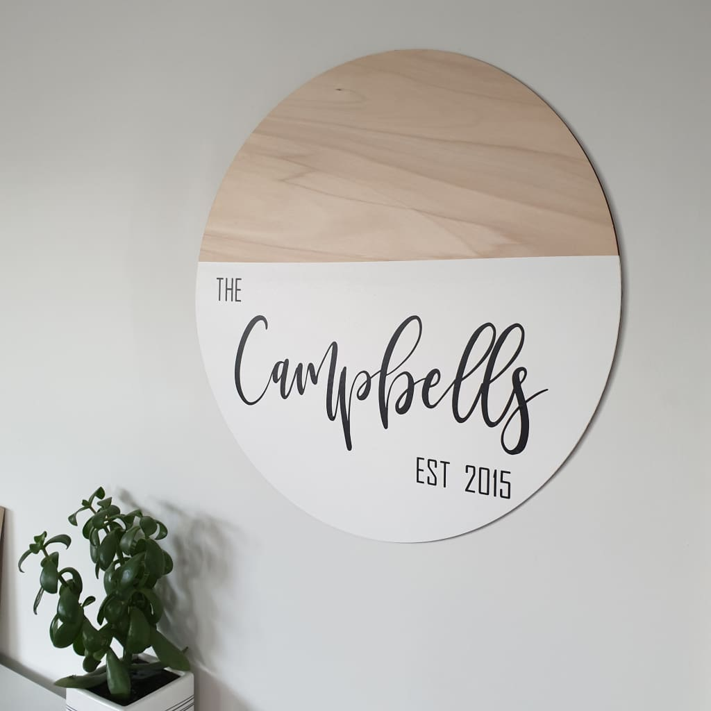 Family Established Name Circle Dipped - 30cm / Natural Birch - General Signs