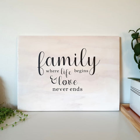 Family Life And Love Sign - Plywood Sign