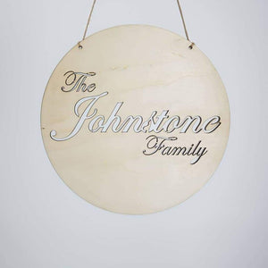 Family Name in Circle - Laser Cut Name Plaque