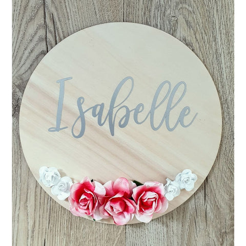 Floral Name Circle - Laser Cut Name Plaque
