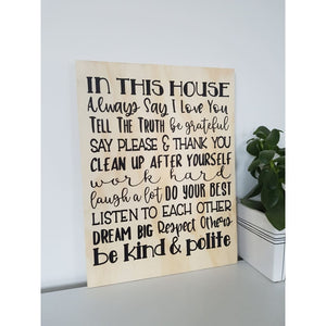 House Rules sign - Plywood Sign