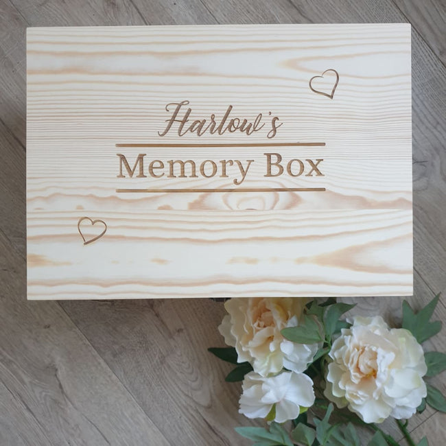 Keepsake Box Pine Engraved -Memory Box - Keepsake Box