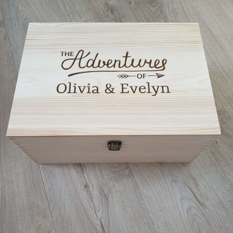 Keepsake Box Pine Engraved The Adventures Of Personalised - Keepsake Box
