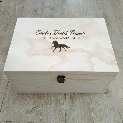 Keepsake Pine Engraved Box Animal - Keepsake Box