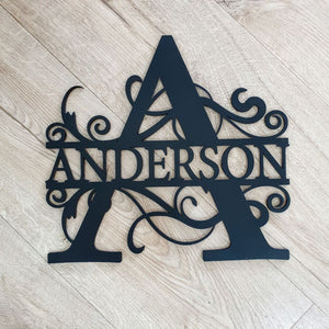Monogram Letter With Name - Laser Cut Name Plaque