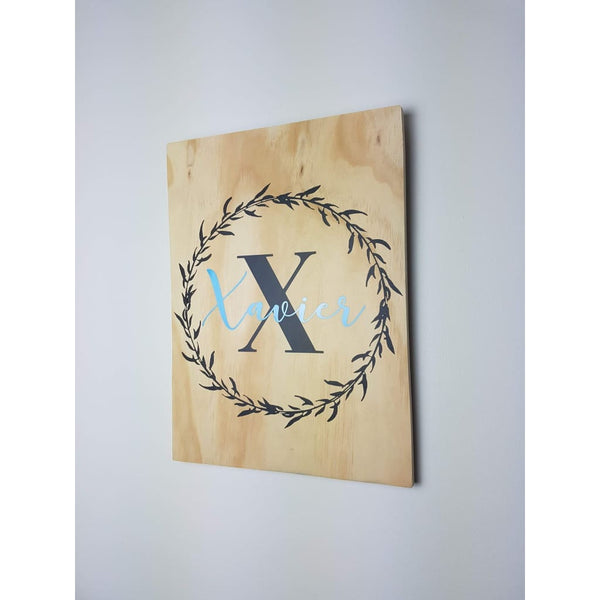Name in Wreath Plywood Wall Sign - Blue - Plywood Sign