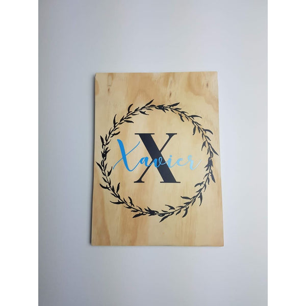 Name in Wreath Plywood Wall Sign - Plywood Sign