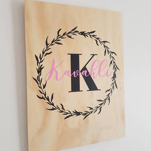 Name in Wreath Plywood Wall Sign - Pink - Plywood Sign
