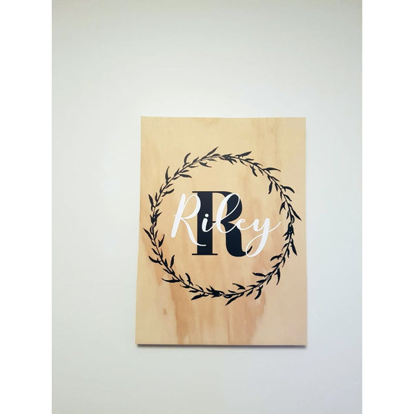 Name in Wreath Plywood Wall Sign - White - Plywood Sign