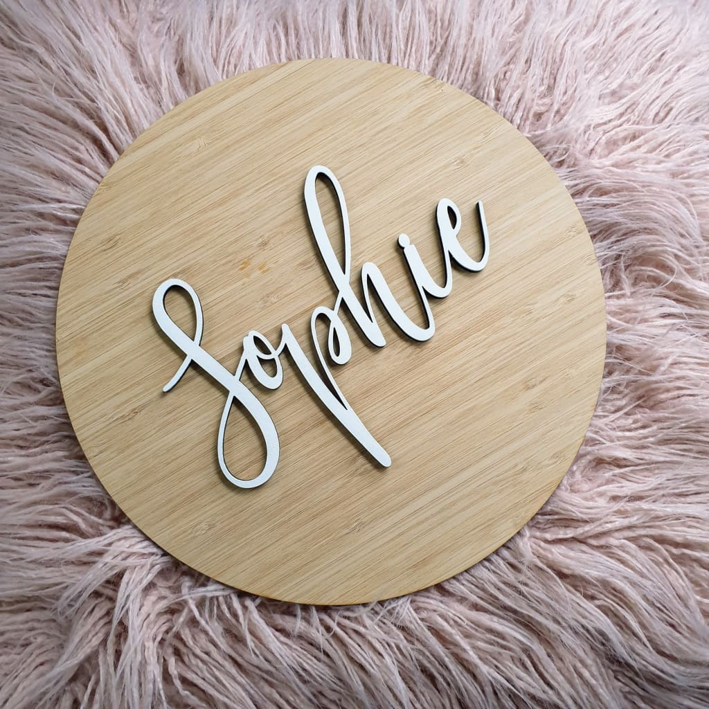 Name On Bamboo Plaque - Laser Cut Name Plaque