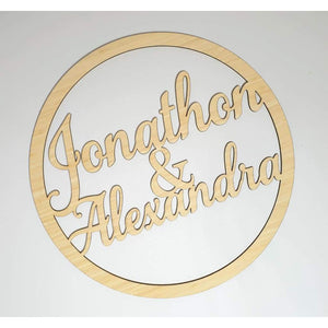 Names in Ring Bamboo - Laser Cut Name Plaque