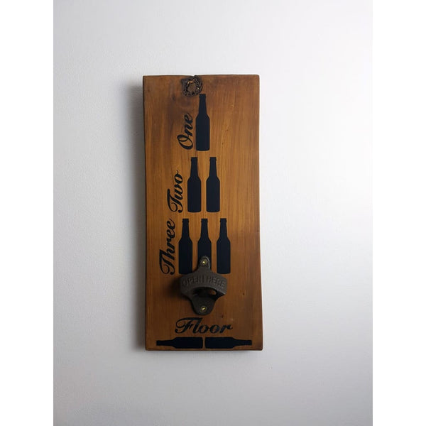 One Beer Two Beers Three Beers Floor Bottle Opener Macrocarpa - Bottle Opener