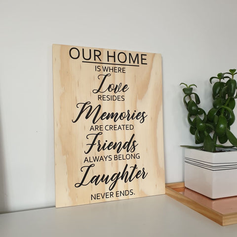 Our Home Ply sign - Plywood Sign