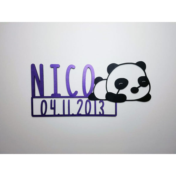Panda Name Plaque with Free Personalisation - Laser Cut Name Plaque