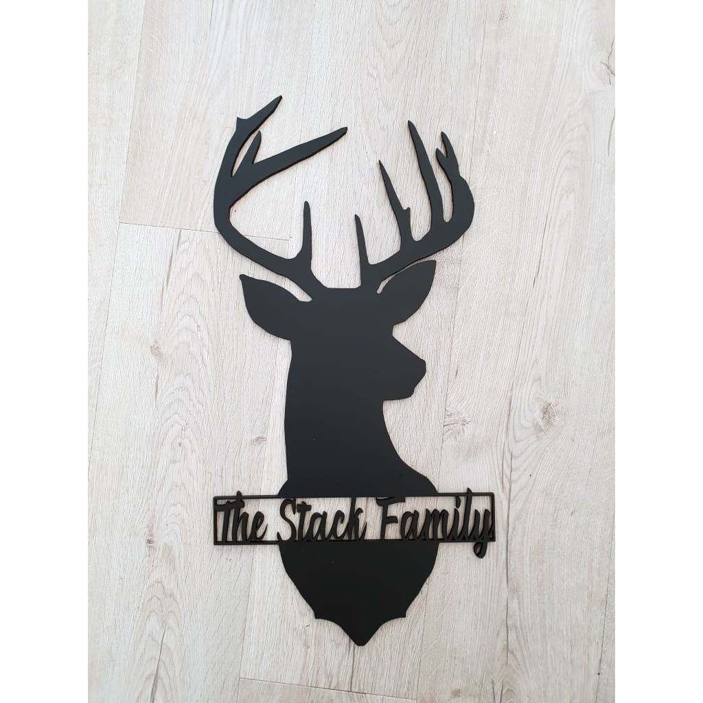 Personalised Stag Laser Cut Wood - Laser Cut Name Plaque