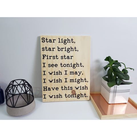 Star Light Star Bright Ply Sign - Plywood Sign